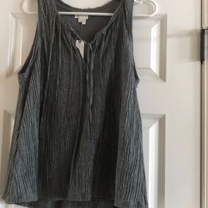 Anthropologie,no sleeve crushed cotton blouse.